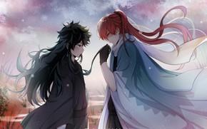 Картинка аниме, двое, длинные волосы, Fanart, Boku no Hero Academia, Todoroki Shouto, Pixiv, My Hero Academia, …