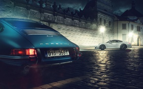 Картинка 911, white, blue, street, porche, classic Porsche