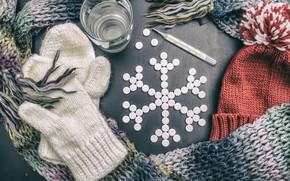 Картинка таблетки, градусник, термометр, тёплые вещи