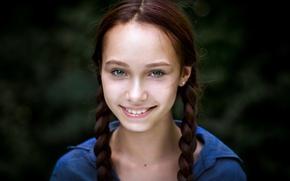 Картинка улыбка, девочка, косички, Юля