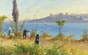 Картинка пейзаж, картина, Fausto Zonaro, Фаусто Зонаро, Наложницы Рыбачат у Босфора