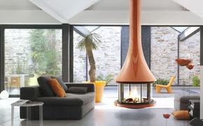 Картинка дизайн, стиль, вилла, интерьер, камин, гостиная