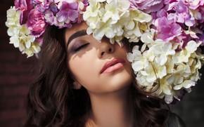 Картинка цветы, лицо, настроение, макияж, гортензия, закрытые глаза, Алия, Вадим Миронов