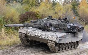 Картинка дуло, танк, Leopard 2, грязь