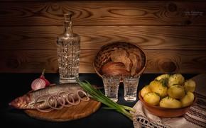 Обои лук, хлеб, картофель, графин, селедка, водка, натюрморт