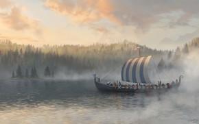 Обои лодка, вода, воины, Jon Pintar, Northern Traders, лес