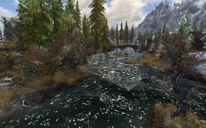 Картинка мост, река, skyrim, скайрим, морфал, tes5