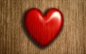Картинка сердце, доски, Red, Valentine's Day, Heart, Wood planks