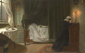 Обои картина, масло, Дидерик Франциск Джамин, Молитва за Умерших