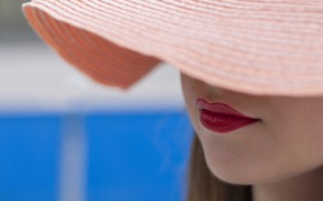 Картинка лето, шляпа, помада, губы