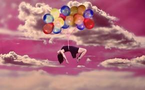 Картинка небо, девушка, облака, шарики, платье