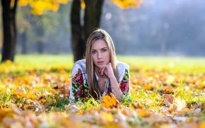 Картинка осень, взгляд, девушка, листва, волосы, боке
