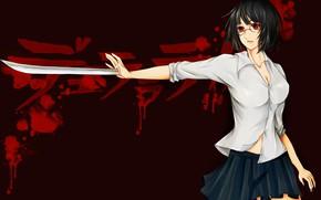 Картинка girl, sword, blood, weapon, big, anime, red eyes, katana, ken, brunette, asian, skirt, oriental, asiatic, …