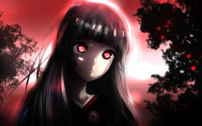 Картинка anime, night, red eyes, brunette, evil, hell, kimono, bishojo, Enma Ai, Jigoku Shoujo, japonese, jigoku, …