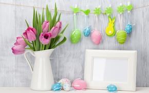 Картинка Пасха, тюльпаны, розовые, pink, tulips, spring, Easter, eggs, decoration, Happy, tender, pastel