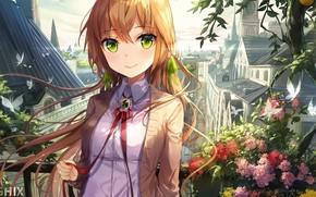 Картинка бабочки, цветы, город, растения, рыжая, школьница, длинные волосы, шпили, art, зеленые глаза, красная ленточка, крыши …