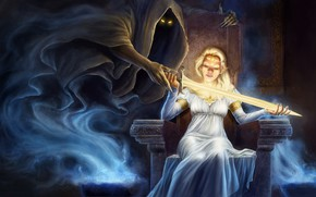 Картинка Девушка, Меч, Смерть, Дух