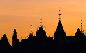 Картинка башня, силуэт, Парламент, Канада, оттава