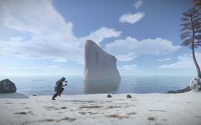 Картинка море, природа, человек, выживание, Rust, бегать