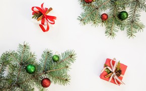 Картинка подарок, шары, игрушки, новый год, ветки ели