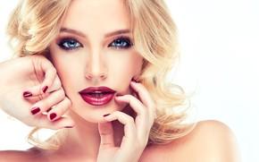 Картинка взгляд, лицо, волосы, руки, макияж, прическа, блондинка, жест, фотосессия, София Журавец