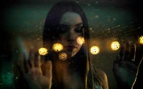 Обои капли, дождь, мокрое стекло, девушка, свет, стекло, боке