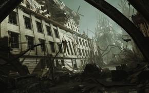 Картинка город, развалины, шутер, MachineGames, The New Colossus, WOLFENSTEIN TNC