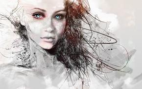 Картинка girl, long hair, blue eyes, pretty