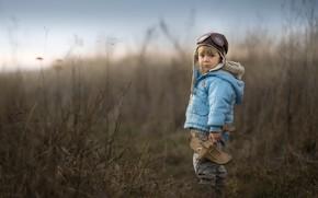 Картинка поле, игрушка, мальчик, самолёт