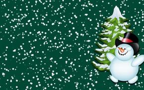 Обои Снег, Ёлка, Снеговик, Новый год, Зима, Минимализм, Елка, Праздник, Настроение