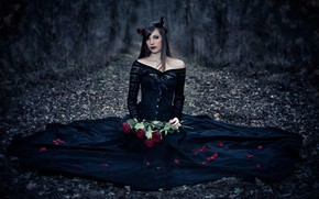 Картинка девушка, розы, лепестки, платье, в чёрном, Garcia Emmanuel