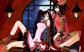 Картинка цветы, ночь, девушки, луна, аниме, окно, xxxHolic, Триплексоголик