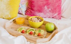 Картинка завтрак, фрукты, хлопья, бутерброды