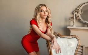 Картинка поза, модель, руки, красное платье, локоны, Екатерина Зорина, Георгий Дьяков