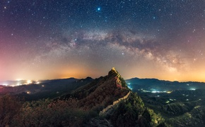 Обои пейзаж, звезды, китайская стена, молочный путь, небо, горы, ночь