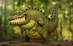 Картинка крокодил, арт, труба, артист, Louis, трубач, крокодильчик, Tyler Bolyard