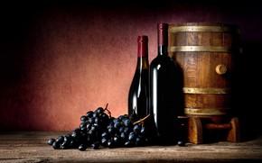 Картинка вино, черный, виноград, бутылки, бочка