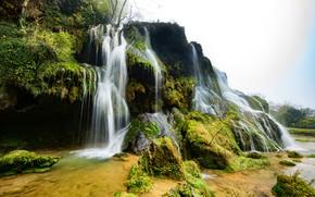 Картинка зелень, камни, Франция, водопад, мох, Cascade des Tufs