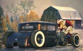 Картинка авто, праздник, дед мороз, Санта Клаус, Хот-род