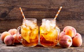 Картинка лёд, ice, напиток, кружки, персик, трубочки, tea