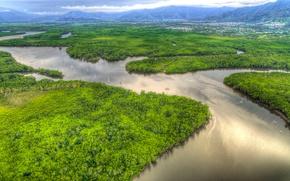 Картинка зелень, горы, река, поля, HDR, лодки, Австралия, панорама, леса, Queensland, Cairns, Portsmith