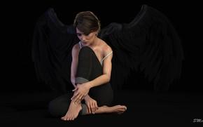 Картинка девушка, ночь, ангел