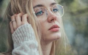 Картинка портрет, очки, блондинка