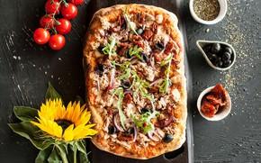 Картинка пицца, начинка, приправа, овощи, еда, зелень