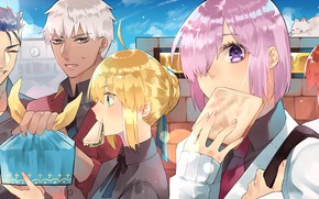 Картинка девушки, еда, парни, бутерброды, Fate / Grand Order