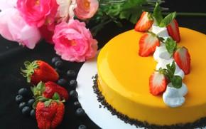Картинка розы, клубника, торт