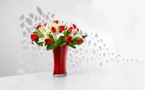 Обои лилии, букет, тюльпаны, ваза