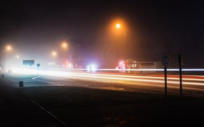 Картинка свет, ночь, город, огни, движение, дома, вечер, выдержка, размытость, фонари, автомобили, красивый, свет фар, световые …