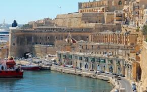 Картинка дорога, транспорт, дома, корабли, залив, набережная, Мальта, Валлетта, Valletta