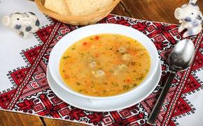 Картинка тарелка, ложка, суп